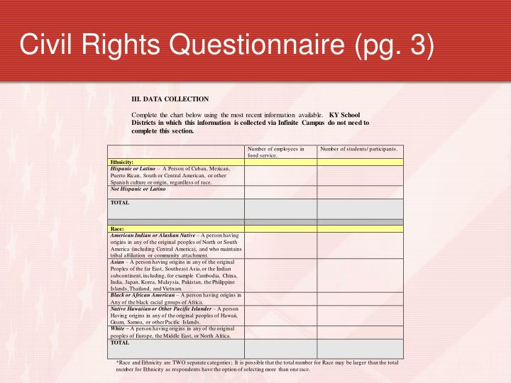 Civil Rights Questionnaire (pg. 3)