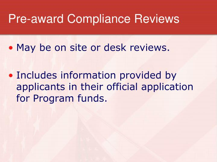 Pre-award Compliance Reviews