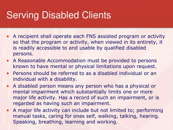 Serving Disabled Clients