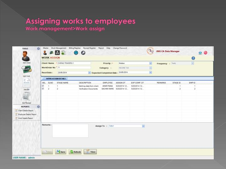 Assigning works to employees