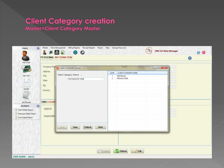 Client Category creation