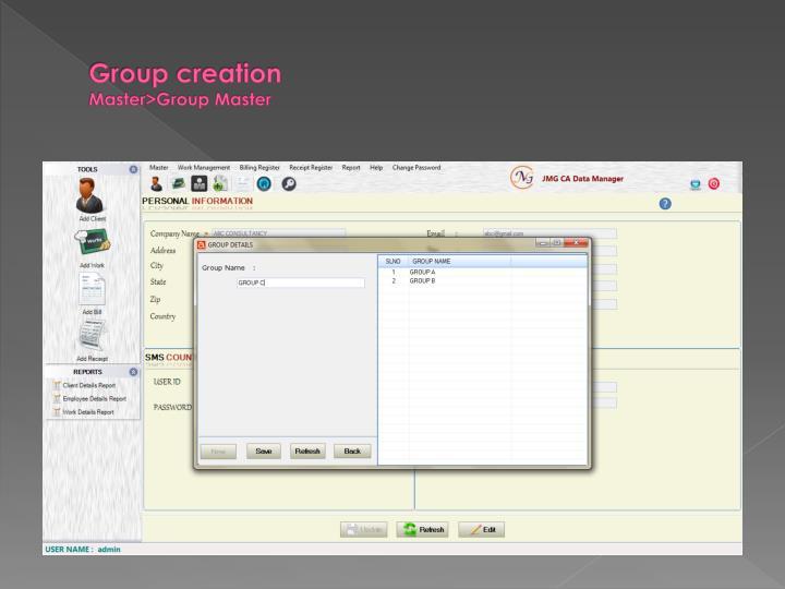 Group creation master group master