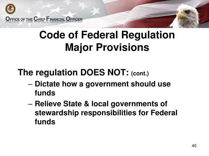 Code of Federal Regulation Major Provisions