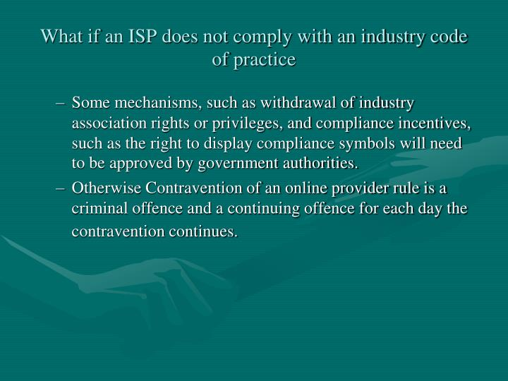What if an ISP does not comply with an industry code of practice