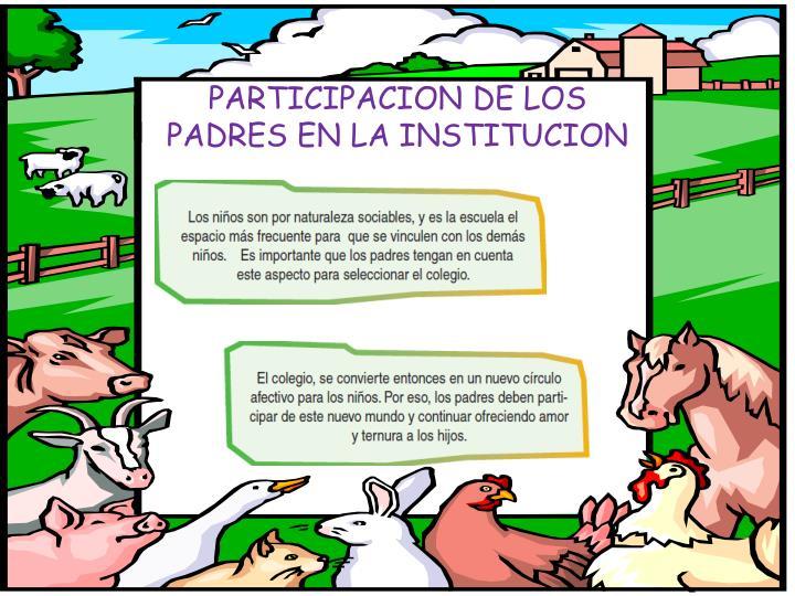 PARTICIPACION DE LOS PADRES EN LA INSTITUCION
