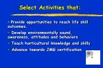 select activities that