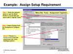 example assign setup requirement