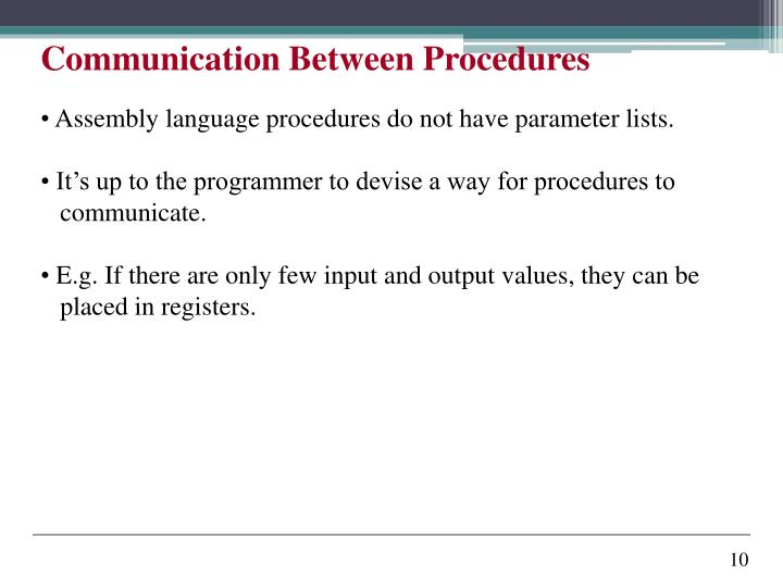 Communication Between Procedures