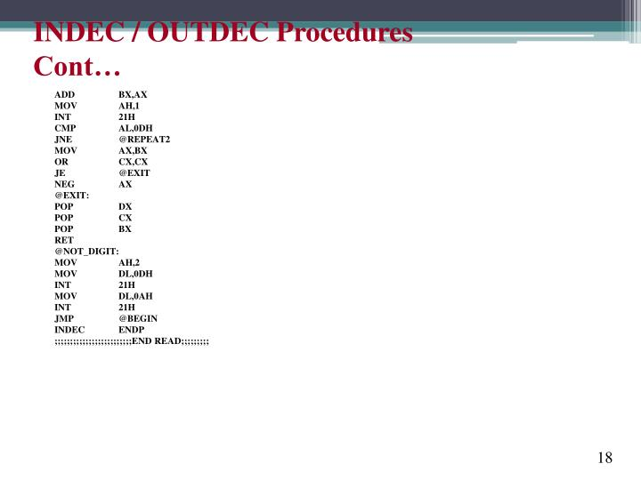 INDEC / OUTDEC Procedures