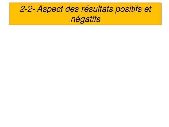 2-2- Aspect des résultats positifs et négatifs
