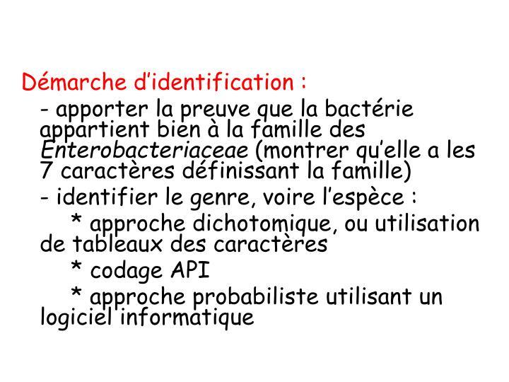 Démarche d'identification :