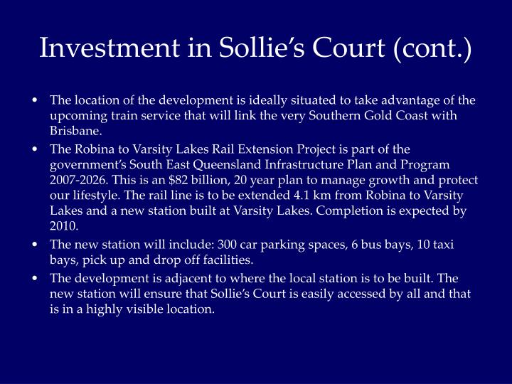 Investment in Sollie's Court (cont.)