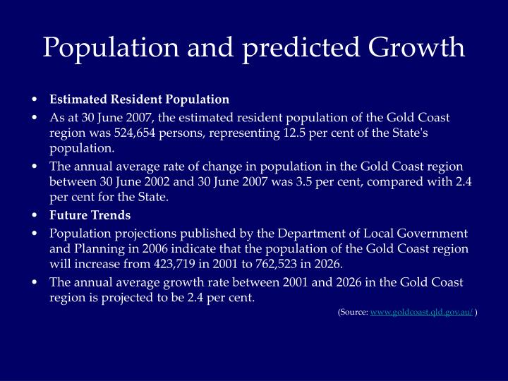 Population and predicted Growth