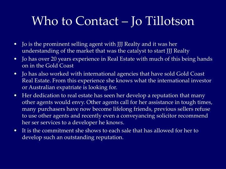 Who to Contact – Jo Tillotson