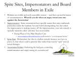 spite sites impersonators and board members in exile