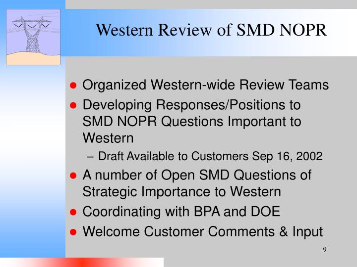 Western Review of SMD NOPR