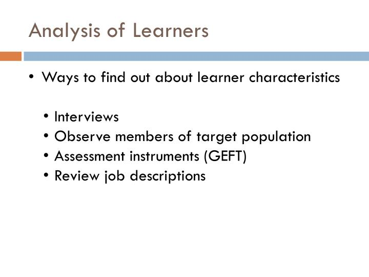Analysis of Learners