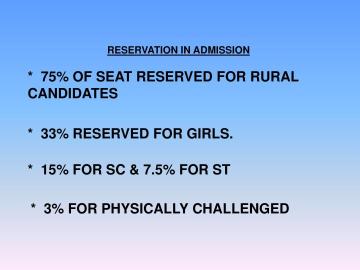 RESERVATION IN ADMISSION