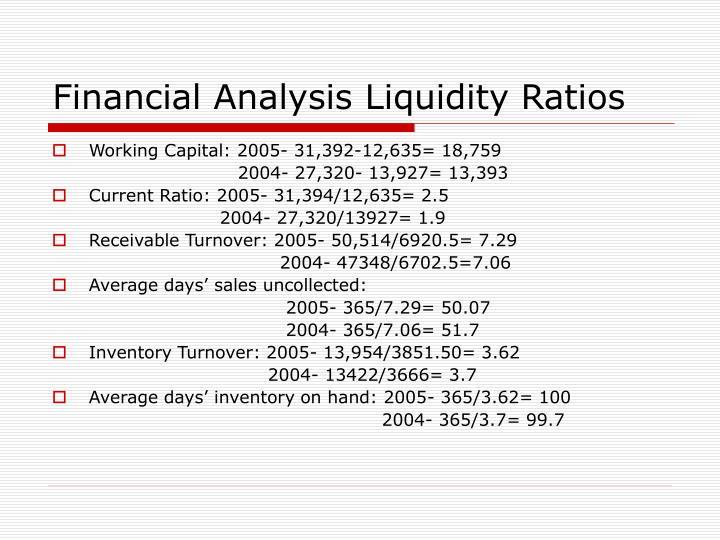 Financial Analysis Liquidity Ratios