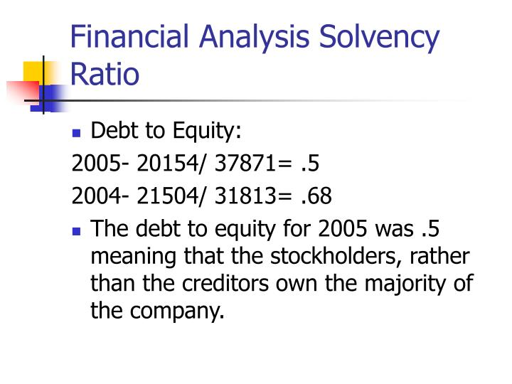 Financial Analysis Solvency Ratio