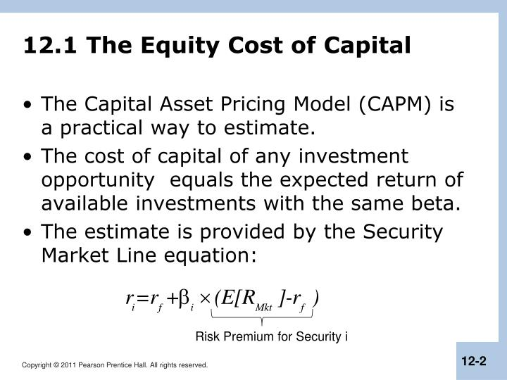 12 1 the equity cost of capital