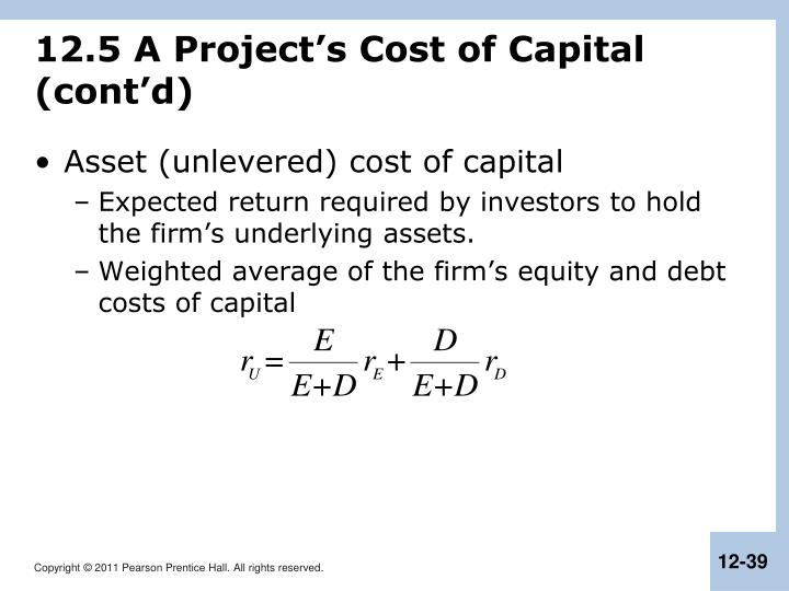 12.5 A Project's Cost of Capital (cont'd)