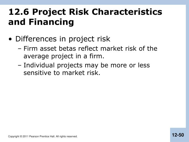 12.6 Project Risk Characteristics and Financing