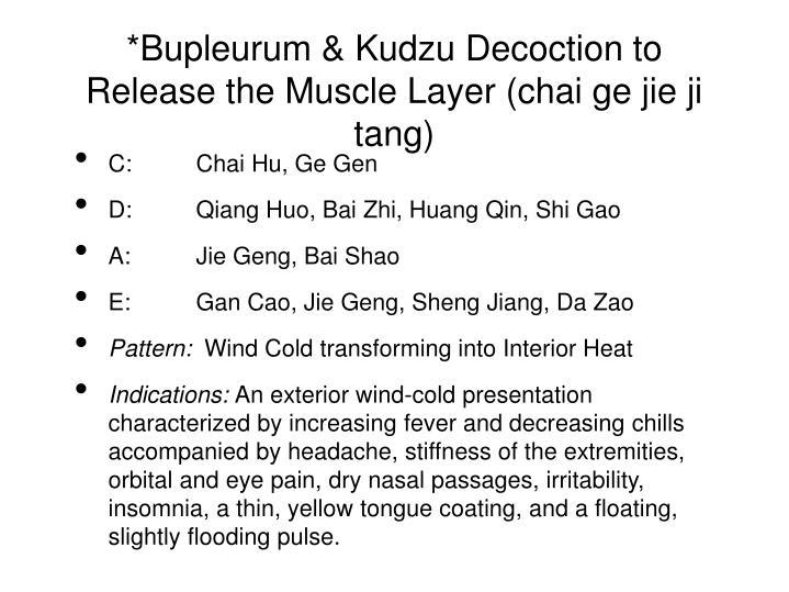 *Bupleurum & Kudzu Decoction to Release the Muscle Layer (chai ge jie ji tang)