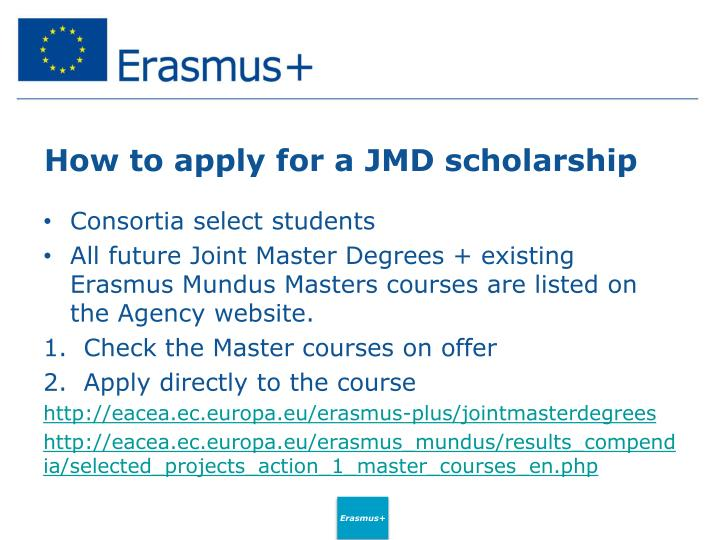 How to apply for a JMD scholarship