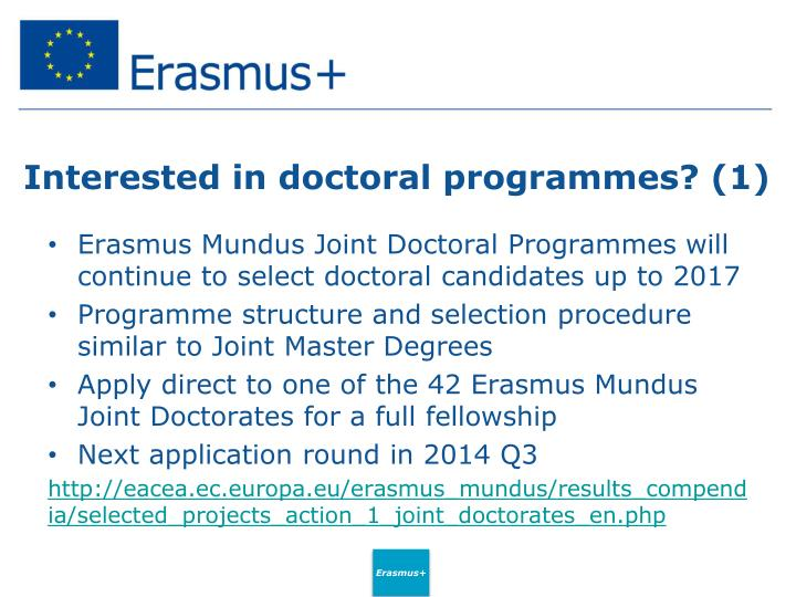 Interested in doctoral programmes? (1)