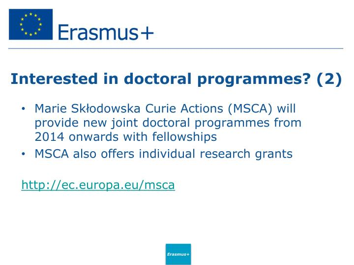 Interested in doctoral programmes? (2)
