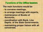 functions of the office bearers