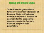 rating of farmers clubs