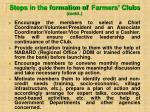steps in the formation of farmers clubs contd