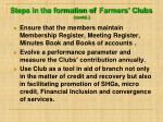 steps in the formation of farmers clubs contd1