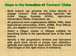 steps in the formation of farmers clubs
