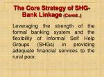 the core strategy of shg bank linkage contd