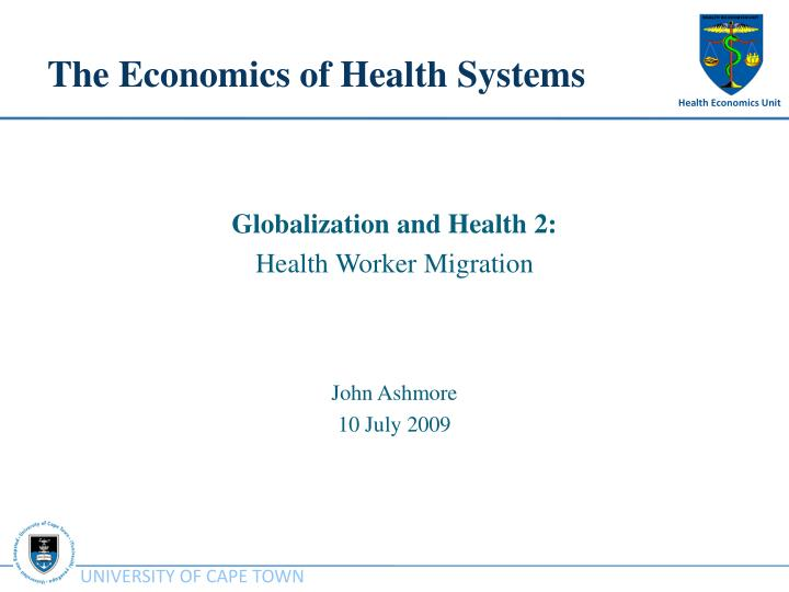the economics of health systems n.