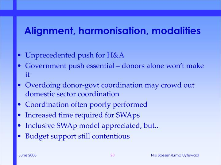 Alignment, harmonisation, modalities