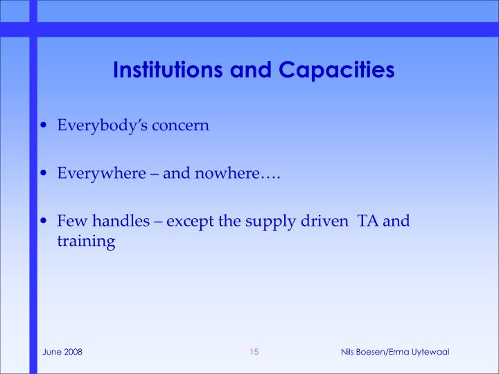 Institutions and Capacities