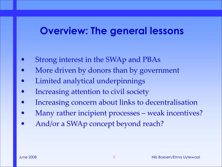 Overview the general lessons