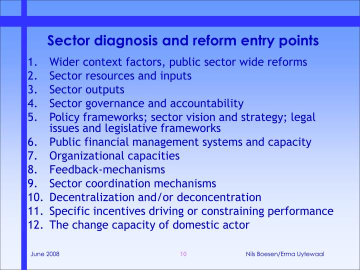 Sector diagnosis and reform entry points