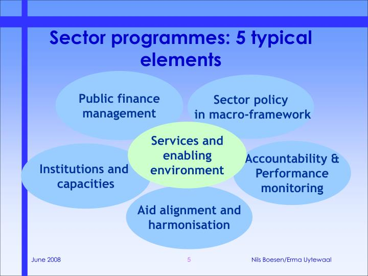 Sector programmes: 5 typical elements