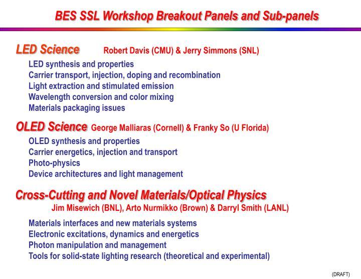 BES SSL Workshop Breakout Panels and Sub-panels