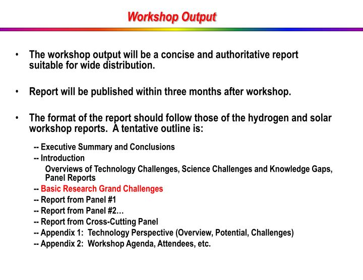 Workshop Output