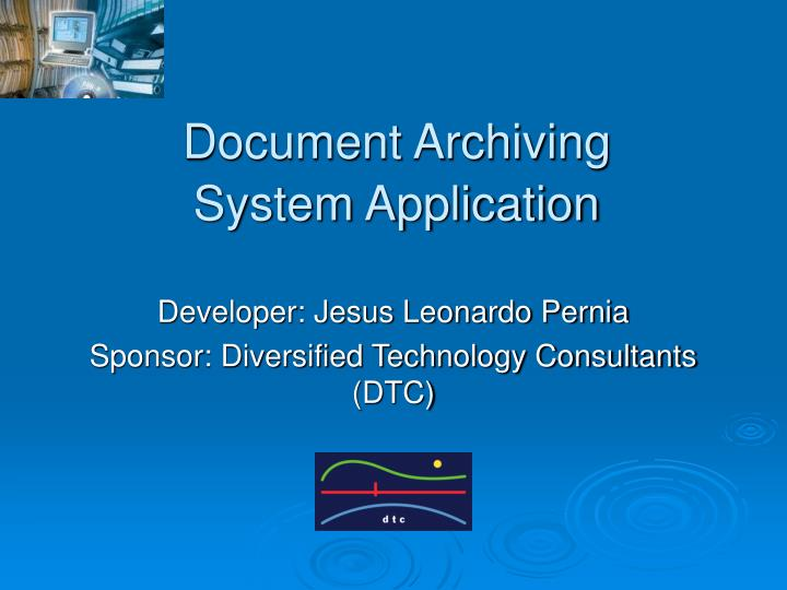 document archiving system application n.