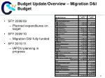 budget update overview migration d i budget