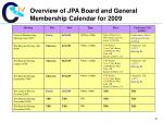 overview of jpa board and general membership calendar for 20091