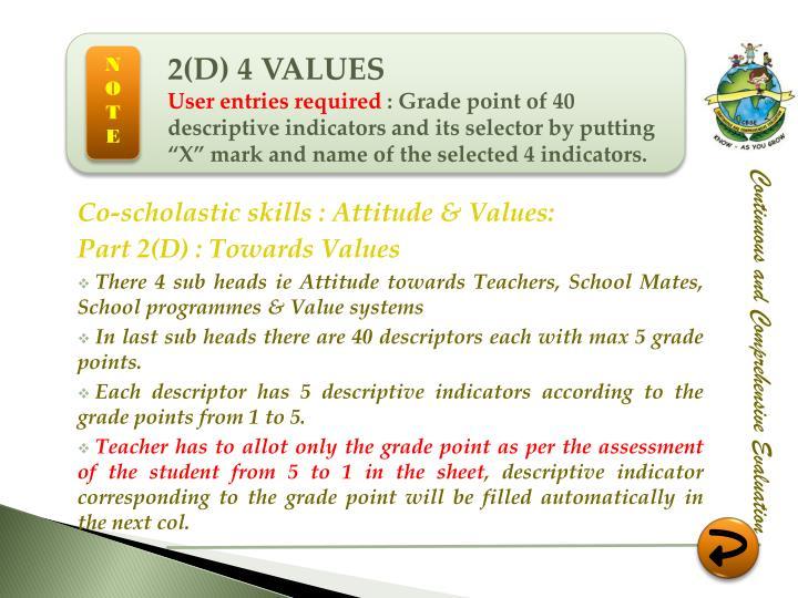 2(D) 4 VALUES