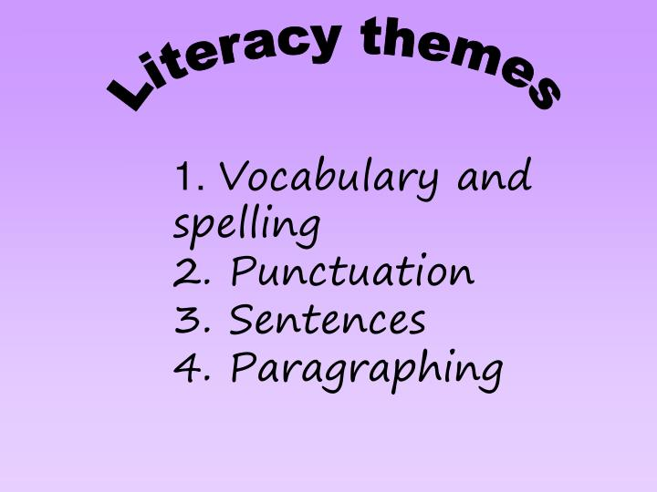1 vocabulary and spelling 2 punctuation 3 sentences 4 paragraphing n.